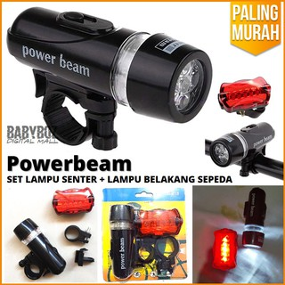 Powerbeam Lampu Depan Sepeda 5 LED & Lampu Belakang + Senter led 5 mode set