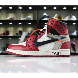 Off - white x air Jordan 1 retro high og 10x men's leather basketball shoes