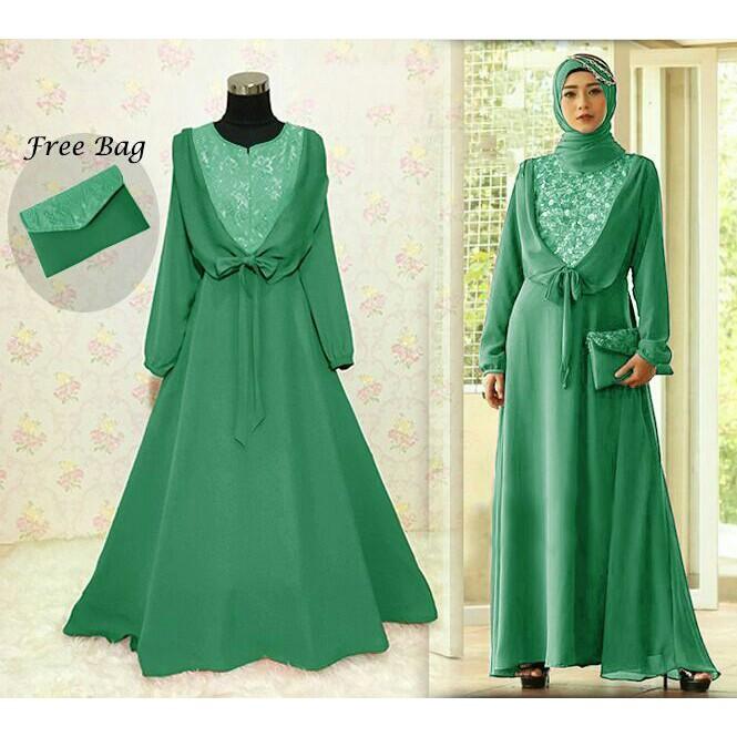 89695 Marsha Hijau Baju Muslim Wanita Terbaru Syar I Berkualitas