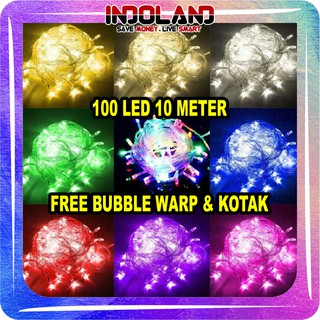 ☀ INDOLAND ☀ E001 Lampu Hias Natal 10 Meter 100 LED Tumblr Light LED Dekorasi Ada Sambungan Female