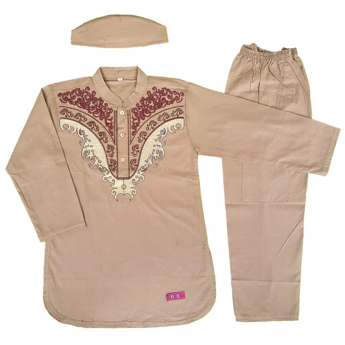 Terlaris Baju Muslim Koko Anak Laki-Laki Stelan Setelan Set Peci AS22-