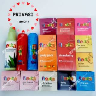 (XPRESS 1x24jam) Privasi! Kondom Fiesta / party pack mix / lubricant pelumas aloe vera