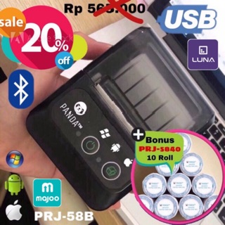 MINI PORTABLE/MOBILE RECIEPT POS PRINTER PANDA PRJ-58B 58MM KERTAS KASIR/PPOB THERMAL(USB+BLUETOOTH)