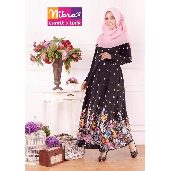 TERBARU Baju Dress Muslim Murah Nibras NS 18 Hitam (ORIGINAL) Dress Muslim Murah