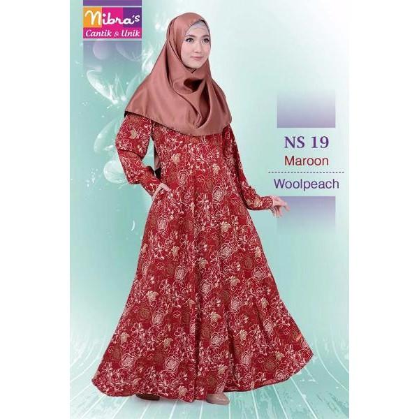 LIMITED Gamis Nibras Murah Nibras NS 19 Merah (ORIGINAL) Toko Baju Gamis