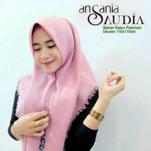 [Unlimited Double] Jilbab Saudia Exclusively Segi Empat Rawis Katun–Hijab Square/Kerudung Segiempat