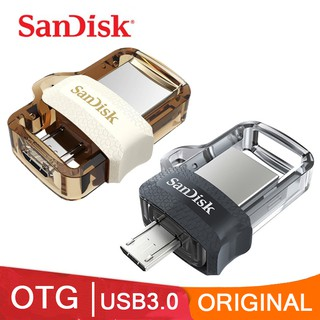 Sandisk Flashdisk OTG 32GB/64GB/128GB/256GB USB Flash Drive 130M/S USB3.0 Original 【Black/Gold】