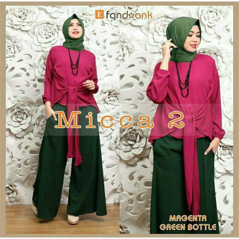 [HOT SALE] Hijab Set 3in1 MICCA Magenta Green Modis