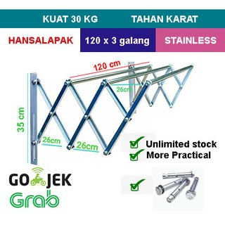 Jemuran dinding STAINLES 1,2 mtr 3 galang up