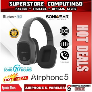 [EXCLUSIVE DI SHOPEE] SONICGEAR AIRPHONE 5 - Wireless Headset With Strong Bass and Clear Audio