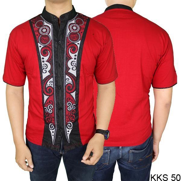 PROMO RAMASHAN Baju Koko Model Lengan Pendek Katun Merah – KKS 50