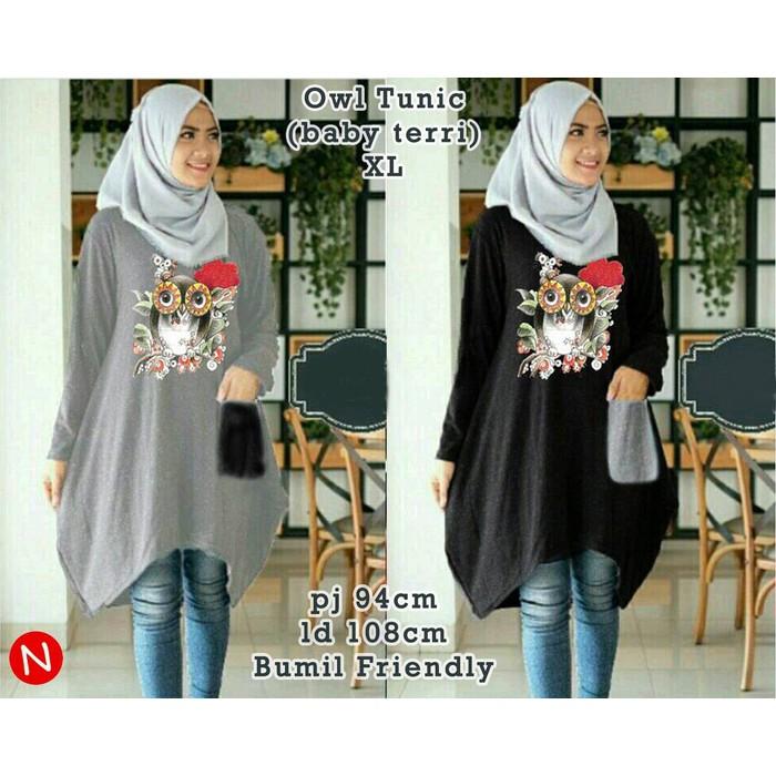 50571 owl tunic/baju tunik murah/atasan muslim wanita murah