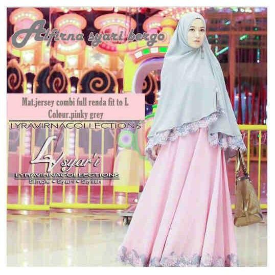 Diskon 100% Alfirna Syari Pink Abu Setelan Gamis Jersey Dan Khimar / Busana Muslim Spesial Ramadhan