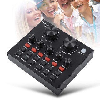 SoundCard V8 Audio untuk HP PC Mac Live Broadcast Karaoke Smule WeSing Audio Mixer
