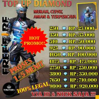 LEGAL VIA ID & NICK NAME aja Top up diamond game free fire termurah, tercepat langsung masuk