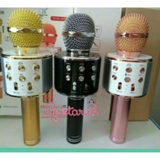 MIC Bluetooth WSTER-858 100%ORIGINAL WIRELESS Speaker portable Home Karaoke Smule Android IOS/DOMPET