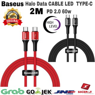 CABLE BASEUS HALO LED USB TYPE C PD 2.0 60W HIGH-SPEED 2M CHARGING