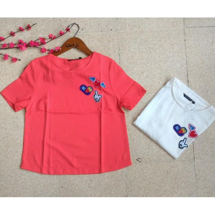 Diskon 40% Blouse Bordir Love/ Baju Korea/ Baju Import Bangkok Brukat Original