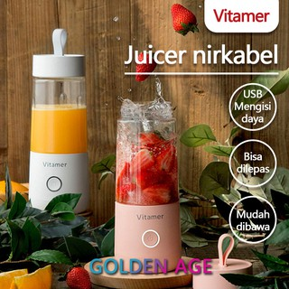 VITAMER BLENDER PORTABLE 350ML ORIGINAL Blender Juice mini USB 4 mata (Free Gift)