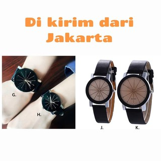 Jam Tangan Fashion Couple Hitam Background Bintang
