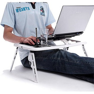 Meja Belajar Lipat Laptop Komputer Portable E Table Cooling Fan Mouse Pad