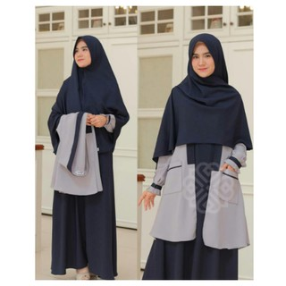 ( Bisa COD ) Elbina Set Gamis + Outer Only S M L XL | Fashion Muslim | Bahan Moscrepe HQ
