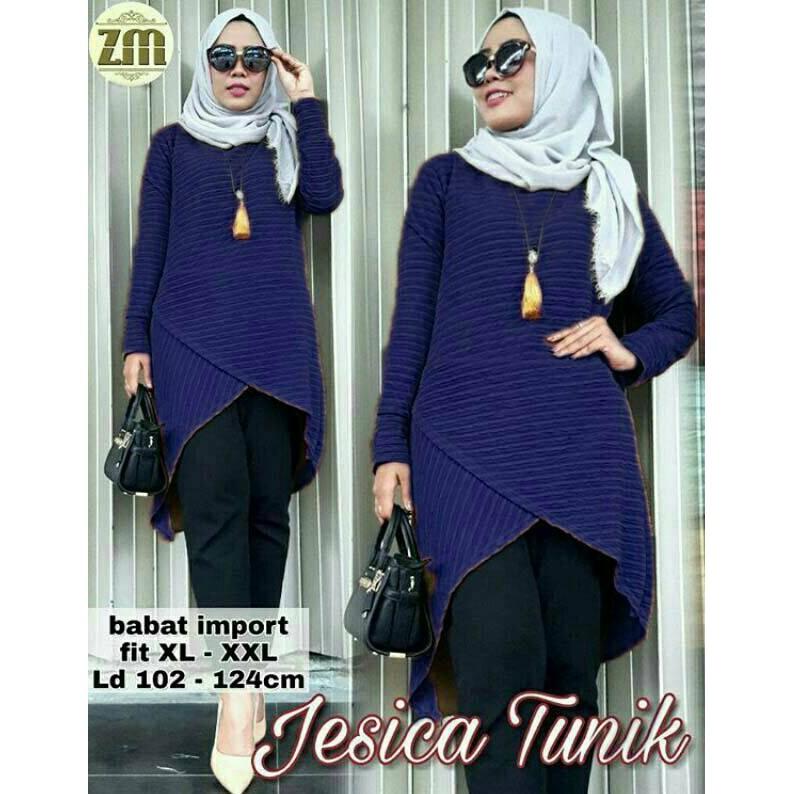 Jessica Tunik Navy Busana Muslim Wanita Dress Muslim Terbaru