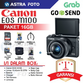 CANON EOS M100/CANON M100 Kit 15-45mm Paket 16gb DAHSYAT !!