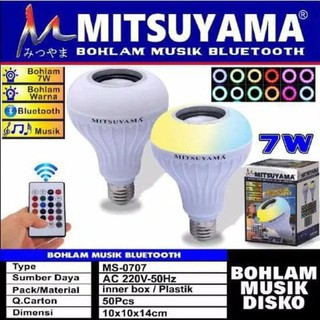 Bohlam Lampu LED Musik Bluetooth Speaker Mitsuyama MS-0707Remote
