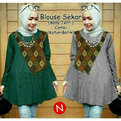 Branded 46391- Blouse Sekar Blouse (Baby Terri Combi Katun Batik) L Besar,0