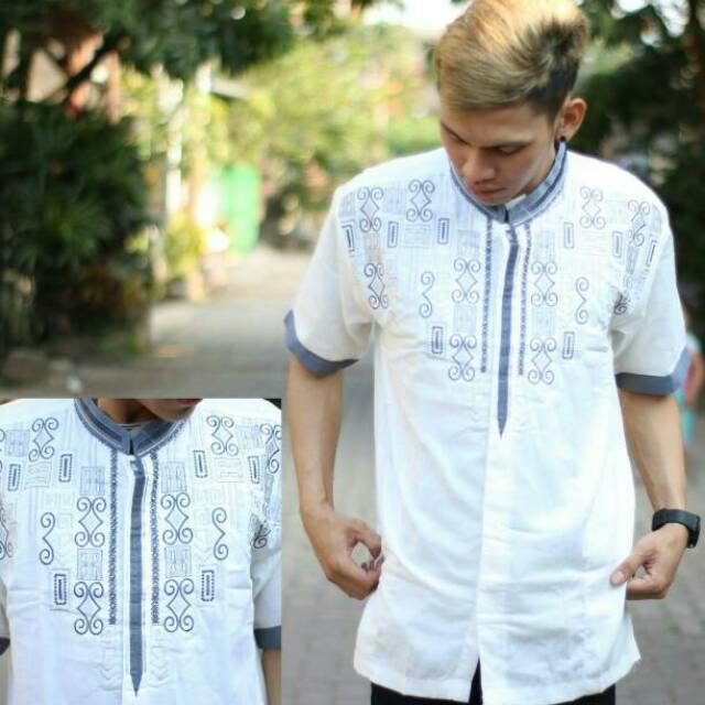 Baju Koko Lengan Pendek Putih Motif BA | Koko Pria | Kemeja Pria | Busana Muslim | Baju Koko Murah