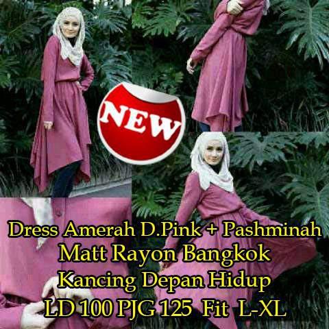 BO1167 [BOess Amerah D Pink+Pashmina SW] BOess wanita rayon bangkok dustypink