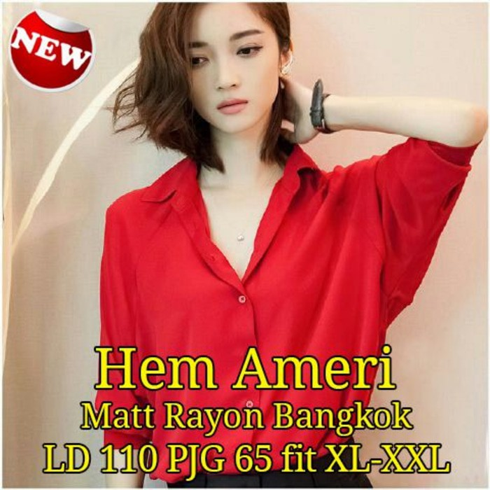 Hem Ameri Sw pakaian wanita kemeja warna merah (SALE)