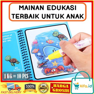 ALFA.ID - MAGIC WATER COLORING BOOK / BUKU GAMBAR / BUKU MEWARNAI / BUKU WARNA / MAINAN ANAK