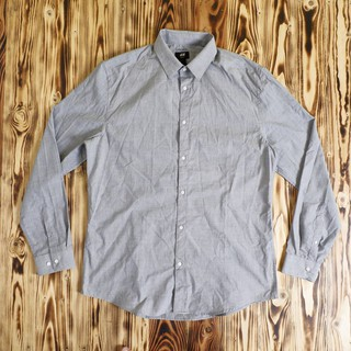 Kemeja Lengan Panjang H&M Easy Iron Slim-Fit LS Shirt Original  Abu