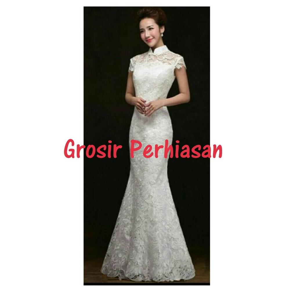 WEDDING DRESS AKAD NIKAH GAUN PESTA PUTIH / GAMIS LEBARAN / IDUL FITRI