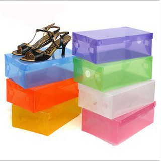 Transparant shoes box - kotak sepatu transparan warna-warni (MIN 5pcs)