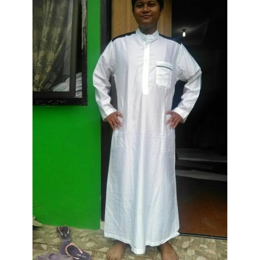 Jual gamis jubah putih kombinasi hitam SPECIAL