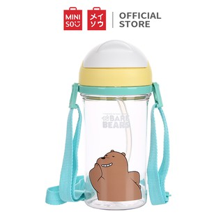 Miniso Official We Bare Bears Water Bottle With Straw 400ml / botol minum