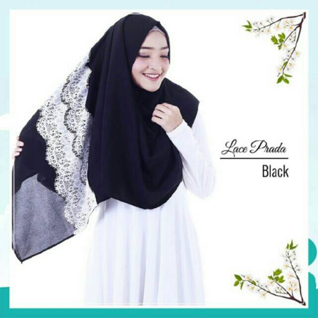Lace Prada Instant Black Comfortable Hijab