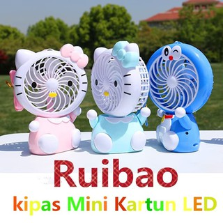 Nagada Kipas Angin Karakter Lampu LED Mini Fan Portable A9 - Biru Muda