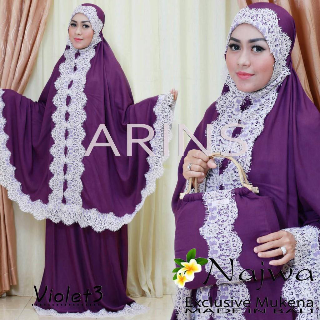 Mukena Bali Violet3 renda putih