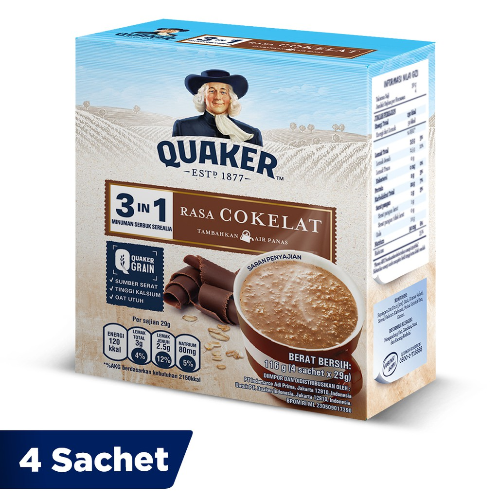 Quaker 3in1 Cokelat Box 4 Sachets