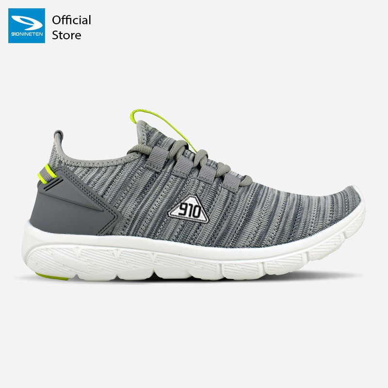 910 Nineten AMARU  Sepatu Running Unisex Abu/Hijau-Neon