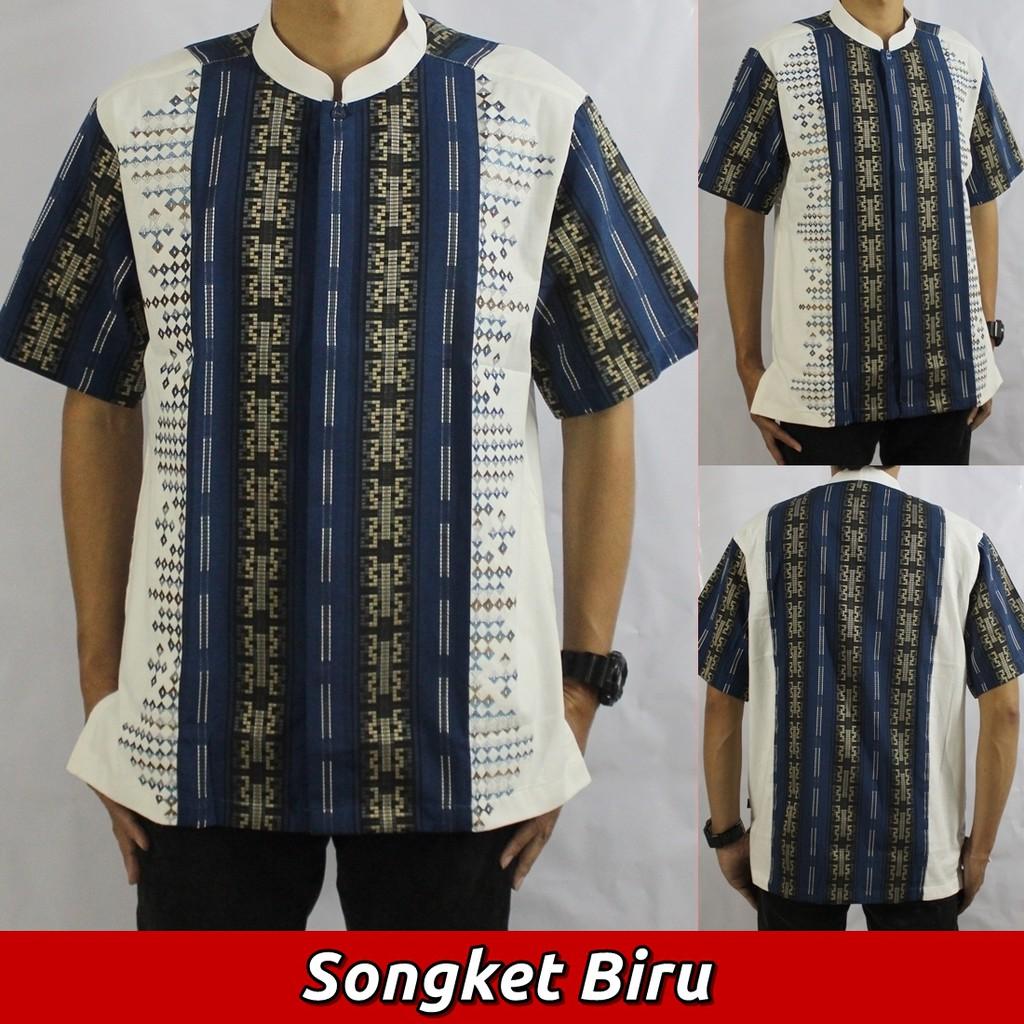 Baju Koko Songket (2 Varian Warna), Busana Muslim Lengan Pendek