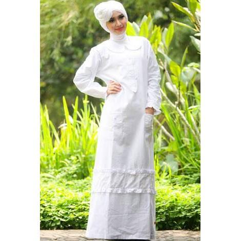 Gamis Katun Putih Nibras Nb45 Cantik
