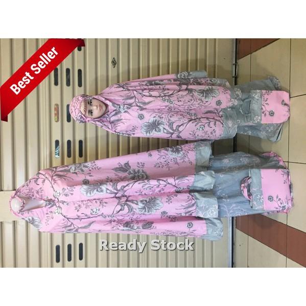 Mukena katun Jepang couple +1 anak Flower pink Termurah
