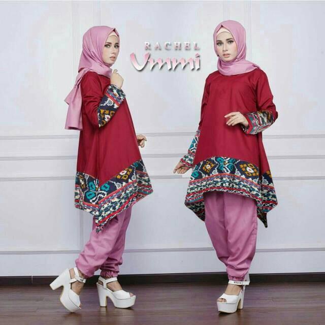 Baju stelan celana muslim hijab rachel syari 3in1