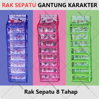 Rak Sepatu Gantung Karakter Hanging Shoes Organizer Doraemon Hello Kitty Keroppi