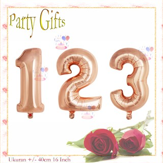 Grosir Balon angka 0-9 warna rose gold 40cm ballon number 16 inch min beli 50 pcs
